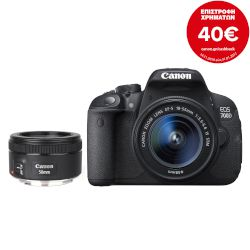 Canon Digital Camera EOS-700D EFS 18-55 IS STM + Φακός Canon 50MM 1.8 STM