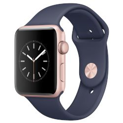 Apple Watch Series 2, 42mm Rose Gold Case-Midnight Blue Sport Band