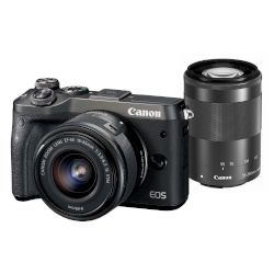 Canon Mirrorless EOS M6 15-45mm IS + 55-200mm IS Μαύρο