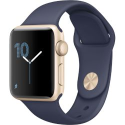 Apple Watch Series 1, 38mm Gold Aluminium Case -Midnight Blue Sport Band