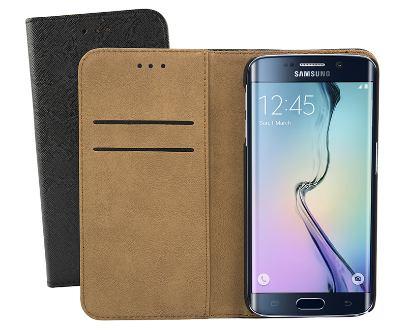 Sentio Book Cover για Galaxy S6 Edge Μαύρη