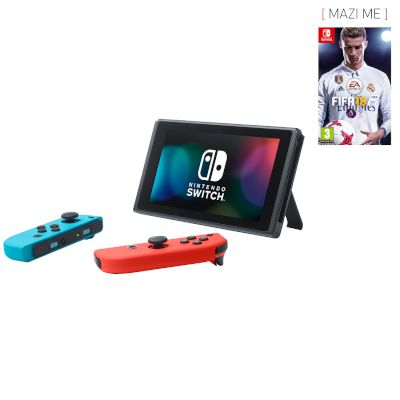 Nintendo Switch Red & Blue Joy Con + FIFA 18