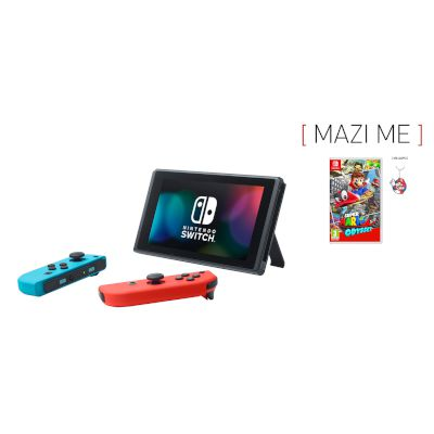 Nintendo Switch Red & Blue Joy-con + Super Mario Odyssey